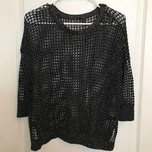 🔥 Express Black Metallic Open Weave Sweater Med